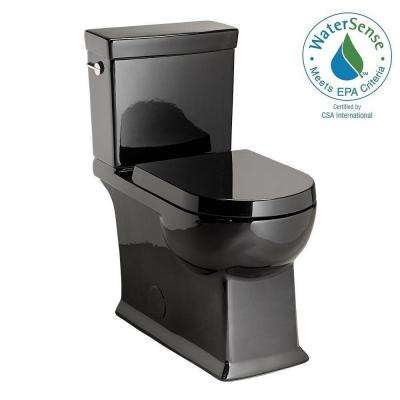 2-piece 1.28 GPF Single Flush Round Toilet in Black