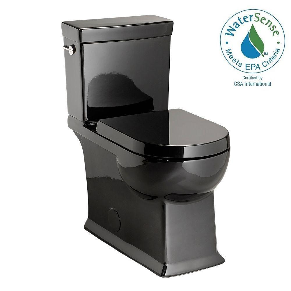 2-piece 1.28 GPF Round Toilet in Black