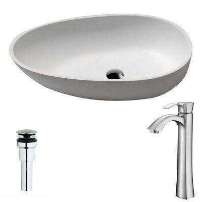 Trident 1-Piece Man Made Stone Vessel Sink in Matte White with Harmony Faucet in Brushed Nickel