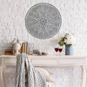 Stratton Home Decor Medallion Wall Decor & Shabby White Medallion Wall Decor-S03354 - The Home Depot