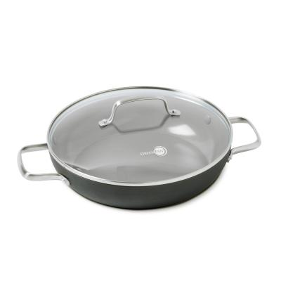 Chatham 11 in. Hard-Anodized Aluminum Ceramic Nonstick Frying Pan in Gray with Glass Lid