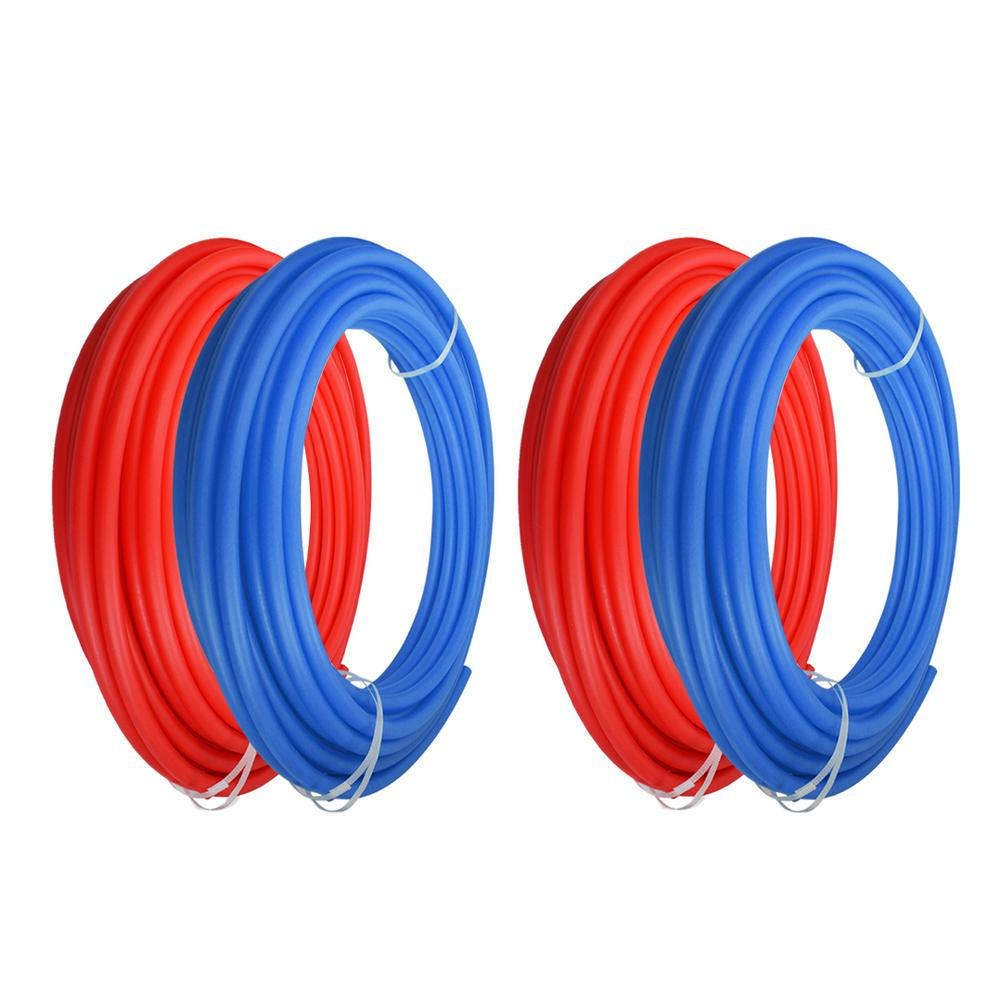 The Plumber's Choice 1/2 in. x 300 ft. and 3/4 in. x 300 ft. PEX Tubing Potable Water Pipe - 2 Red 2 Blue