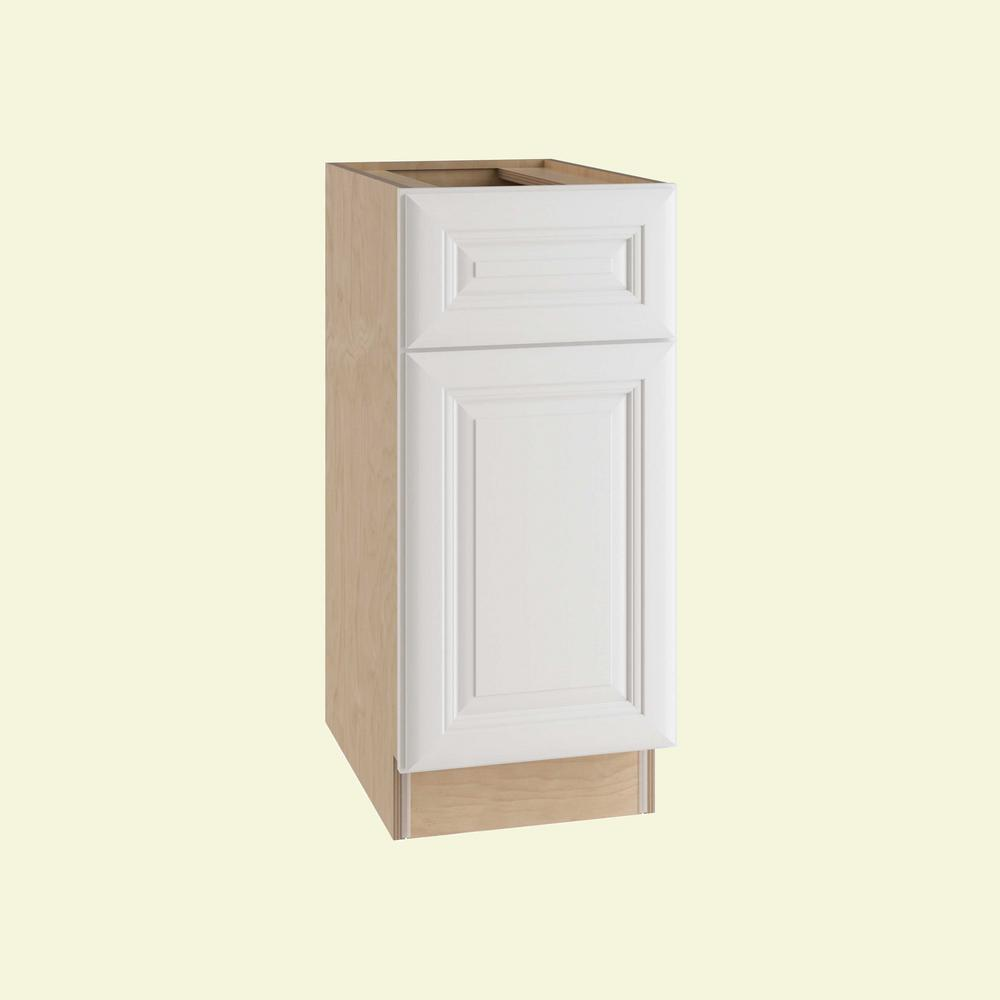 Home Decorators Collection Brookfield Assembled 12x34.5x24in Single Door, Drawer & 2 Rollout Tray Hinge Right Base Kitchen Cabinet in Pacific White