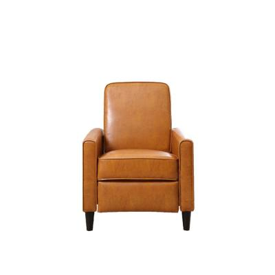 Mocha Faux Leather Push Back Recliner