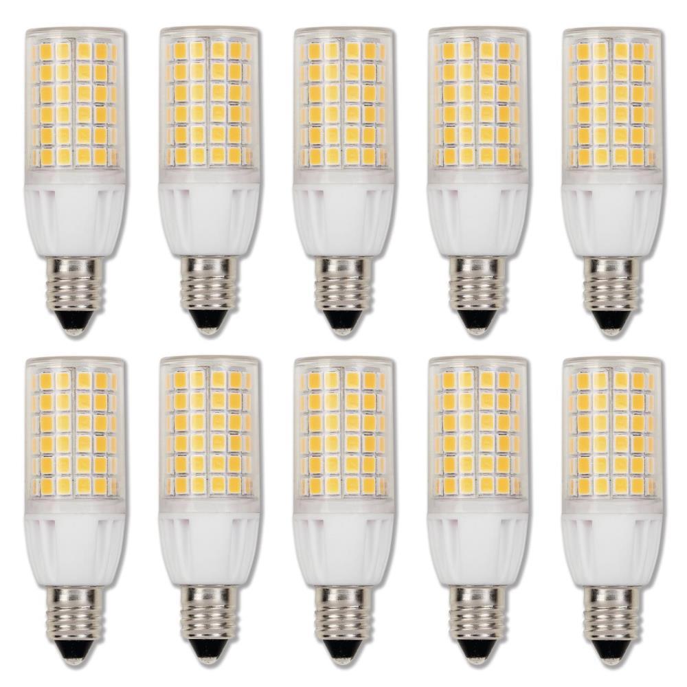 50-Watt Equivalent E11 Dimmable Clear LED Light Bulb Bright White Light (10-Pack)