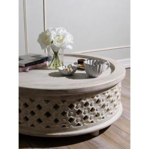 Best Home Fashion White Rustic Wood Carved Coffee Table