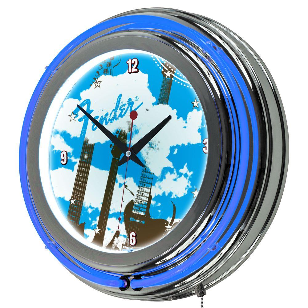 Trademark 14 in. Fender Guitar in the Clouds Chrome Double Ring Neon Wall Clock