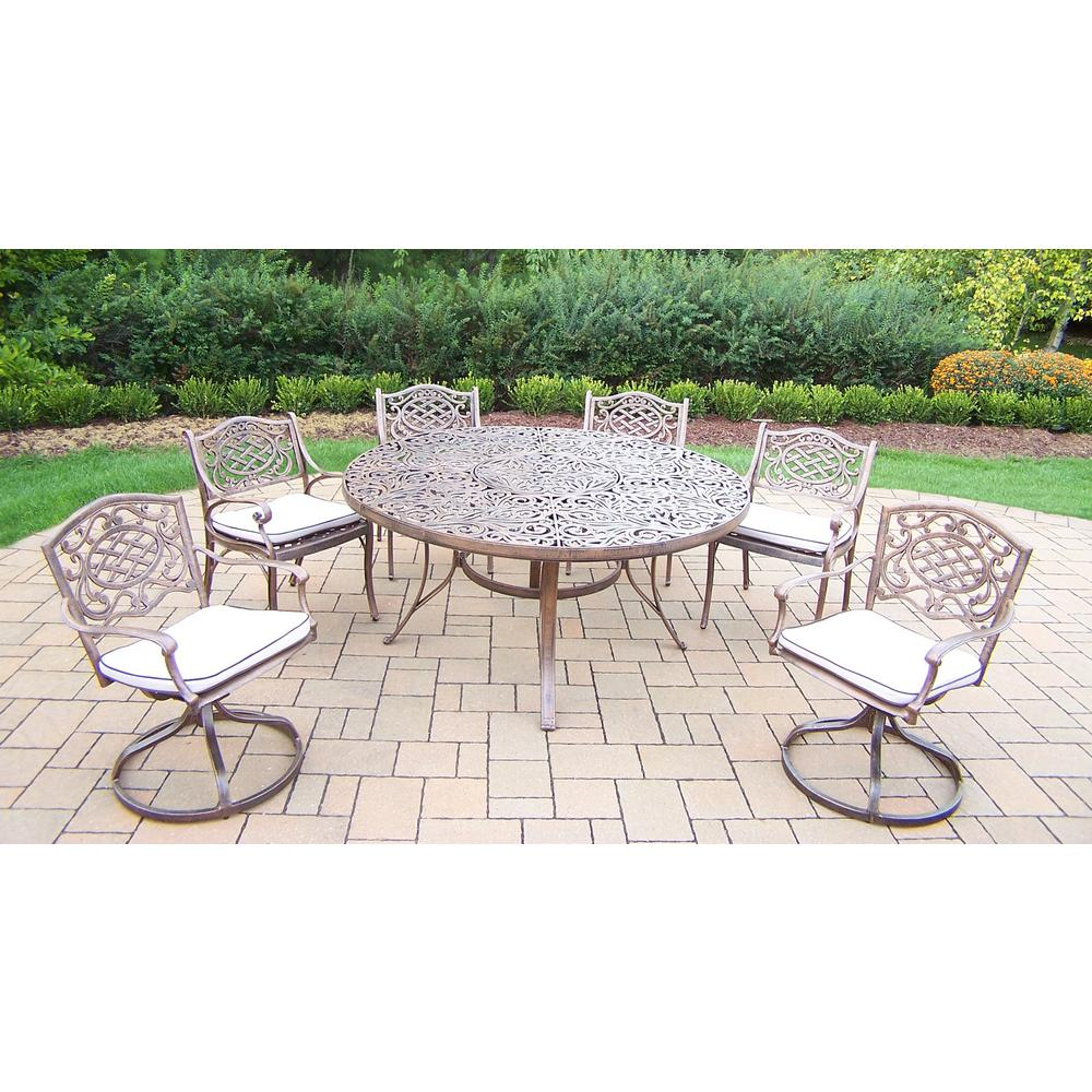 Antique Bronze 7-Piece Aluminum Outdoor Dining Set with Oatmeal Cushions