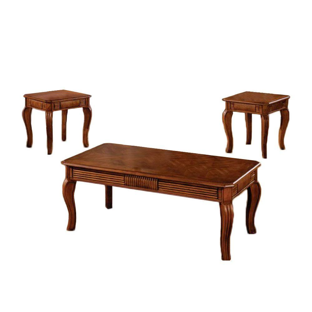 Furniture of America Maywood Table Set in Antique Oak (3-Piece)