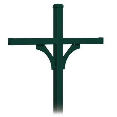 Deluxe 2-Sided In-Ground Mounted Post for 4 Roadside Mailboxes, Green