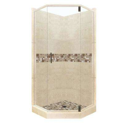 Tuscany Grand Hinged 32 in. x 36 in. x 80 in. Left-Cut Neo-Angle Shower Kit in Brown Sugar and Old Bronze Hardware