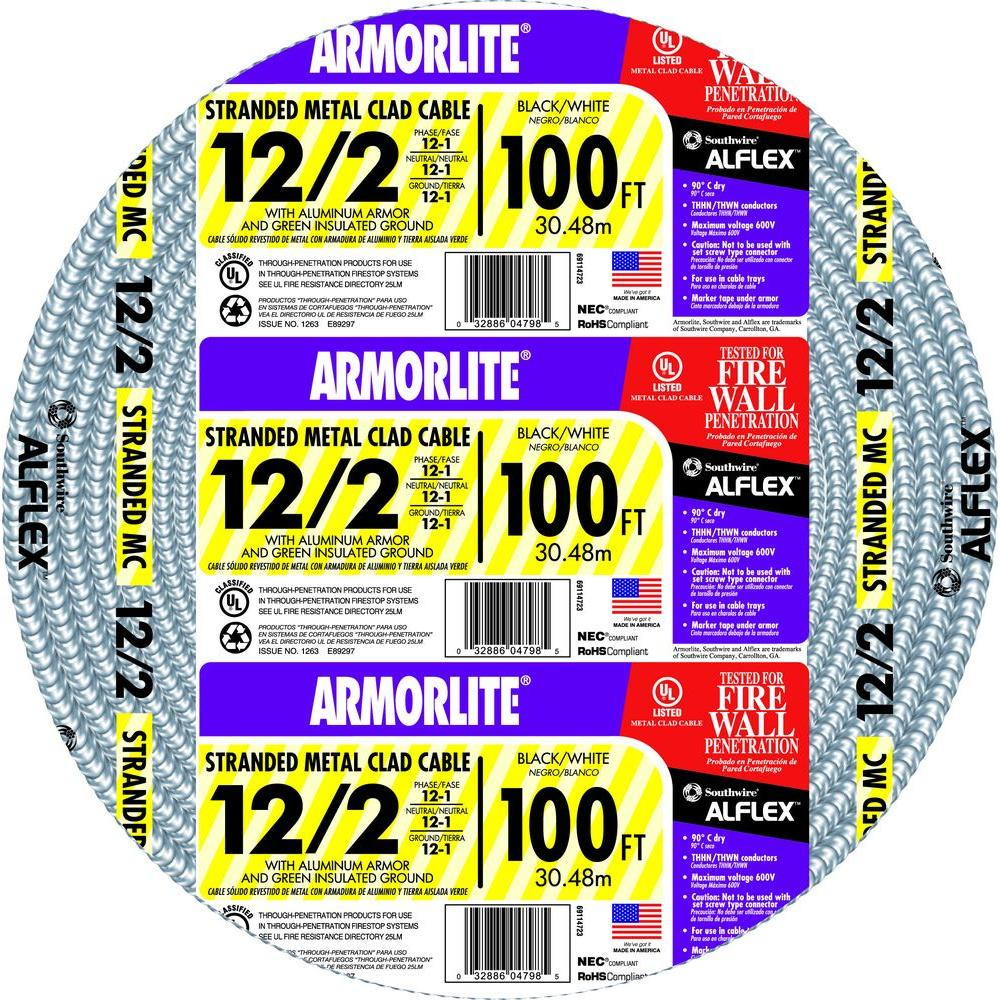 Southwire 12/2 x 100 ft. Stranded CU MC (Metal Clad) Armorlite Cable