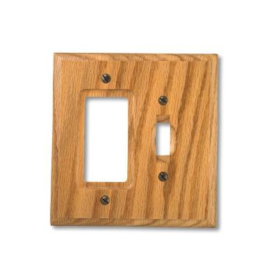 Carson 2 Gang 1-Toggle and 1-Rocker Wood Wall Plate - Light Oak