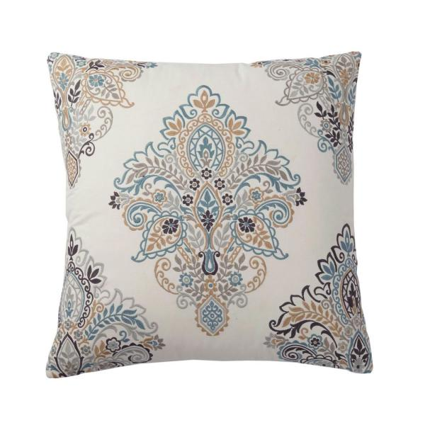 Embroidered Neutral Paisley 26 in. x 26 in. Decorative Throw Pillow Cover
