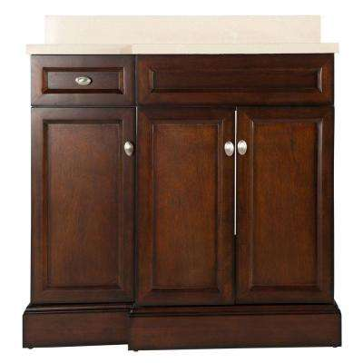 Teagen 36 in. W Bath Vanity in Dark Espresso with Engineered Stone Vanity Top in Beige