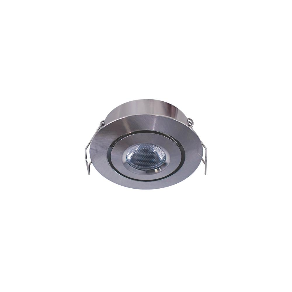 Armacost Lighting 2 in. Soft White Recessed LED Swivel Puck Light, Brushed Steel