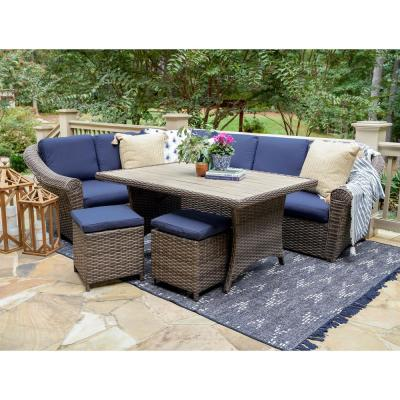 Walton 7-Piece Wicker Outdoor Sectional with Navy Cushions