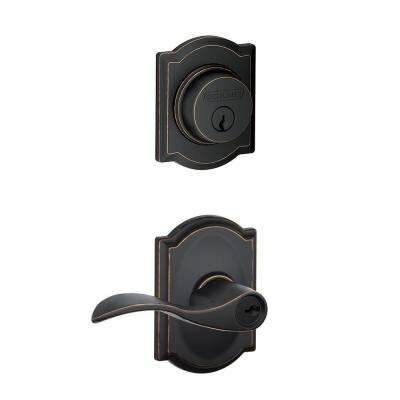 Camelot Aged Bronze Single Cylinder Deadbolt with Accent Entry Door Lever Combo Pack