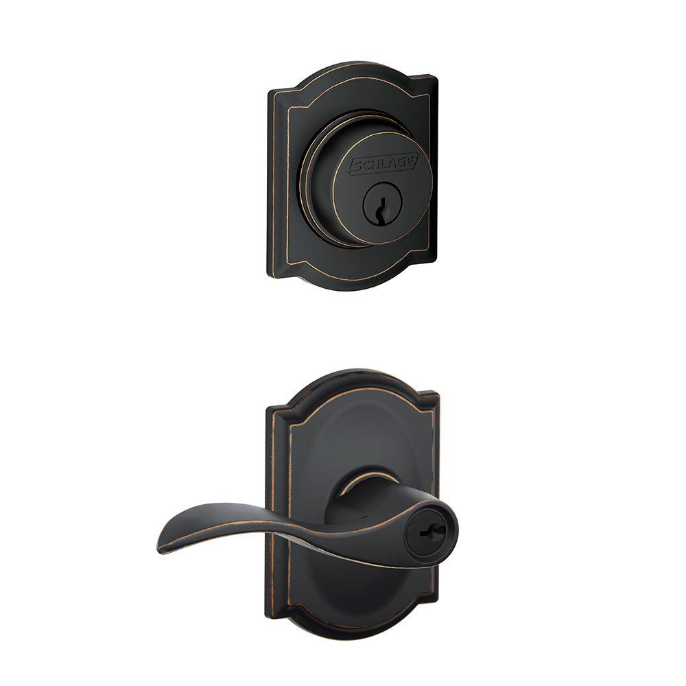 Schlage Camelot Aged Bronze Single Cylinder Deadbolt With Accent Entry Door  Lever Combo Pack