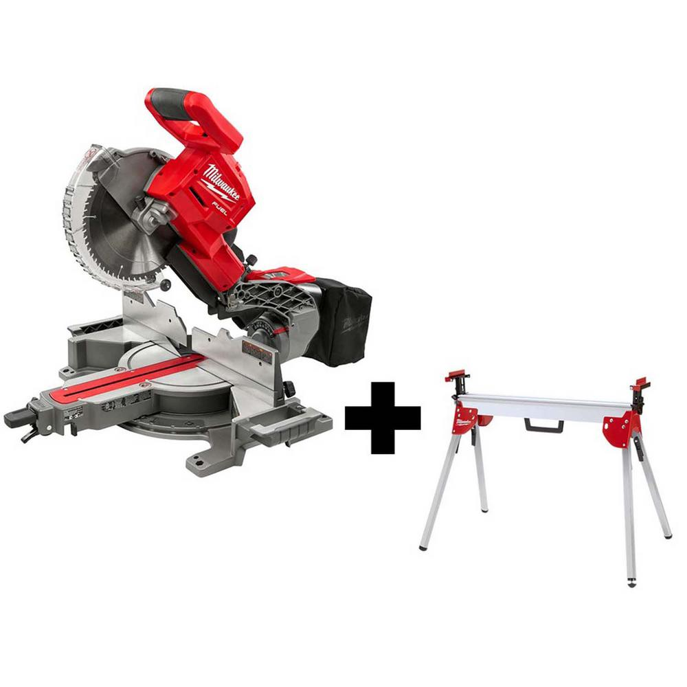 Milwaukee M18 FUEL 18-Volt Lithium-Ion Brushless Cordless 10 inch Dual Bevel Sliding Compound Miter Saw w/ Stand (Tool-Only)
