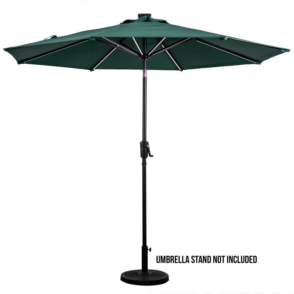 Sun-Ray 9 ft. Market Solar Patio Umbrella in Hunter Green