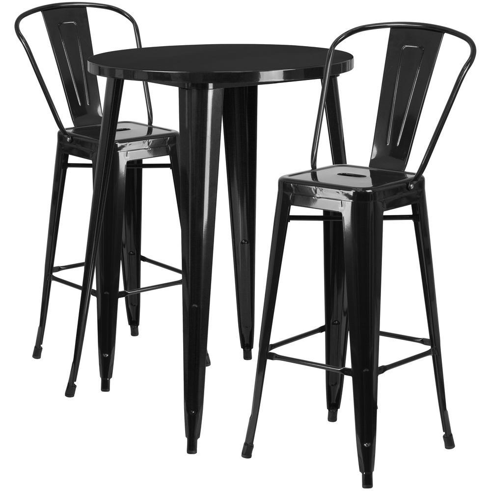 Flash Furniture Black 3 Piece Metal Round Outdoor Bar Height Bistro Set