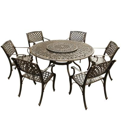 Ornate Traditional and Modern Contemporary 7-Piece Bronze Aluminum Round Outdoor Dining Set