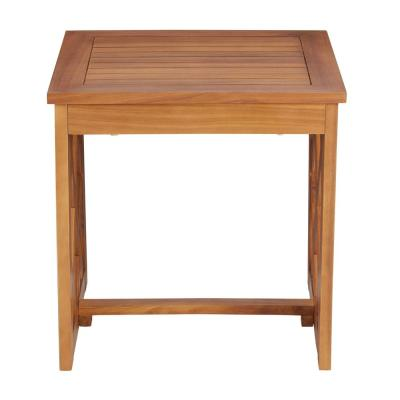 Willow Glen Farmhouse Wood Outdoor Patio Side Table with Teak Finish