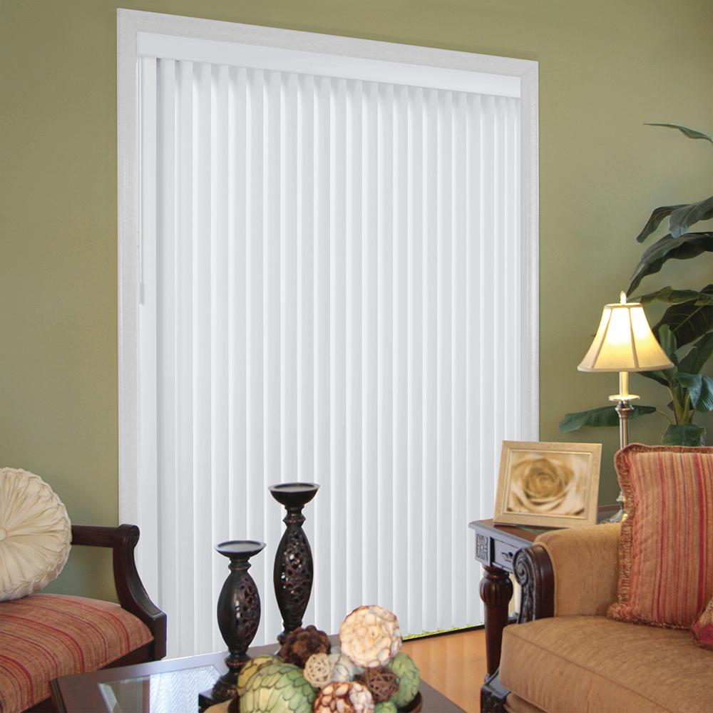 Hampton Bay White Faux Wood Room Darkening 3 5 In Vertical Blind