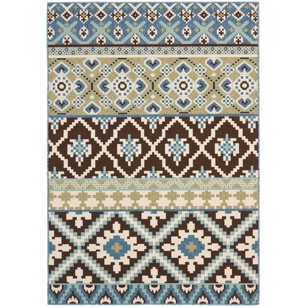 Veranda Chocolate/Blue 6 ft. 7 in. x 9 ft. 6 in.