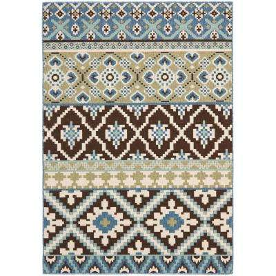 Veranda Chocolate/Blue 7 ft. x 10 ft. Indoor/Outdoor Area Rug