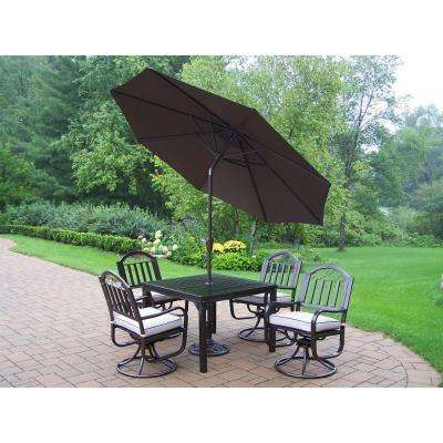 Rochester 5-Piece Swivel Patio Dining Set with Cushions and Brown Umbrella