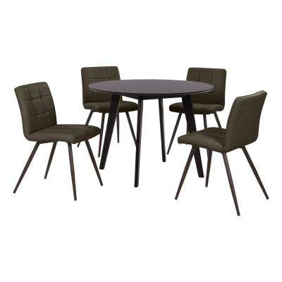 Edgewater 5-Piece Dining Set with Espresso Round Table and Armless Upholstered Dining Chairs in Espresso Brown Fabric