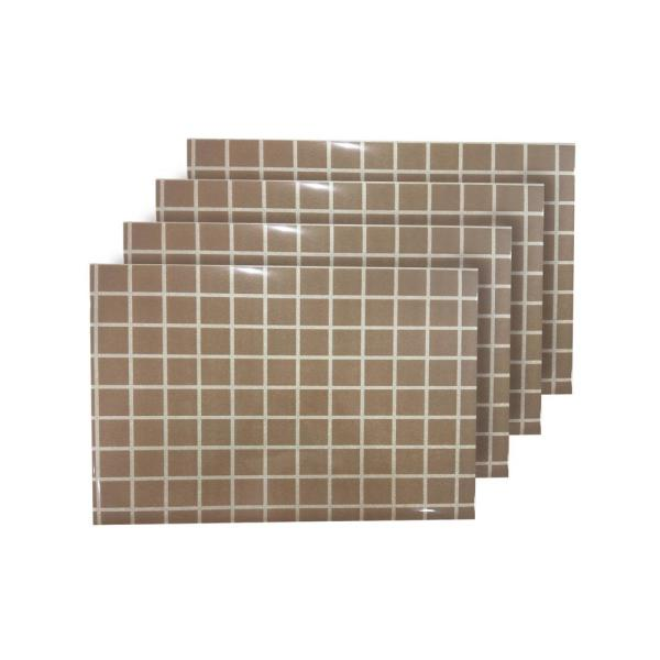Square Up Beige Reversible Metallic Printed Placemats (Set of 4 )