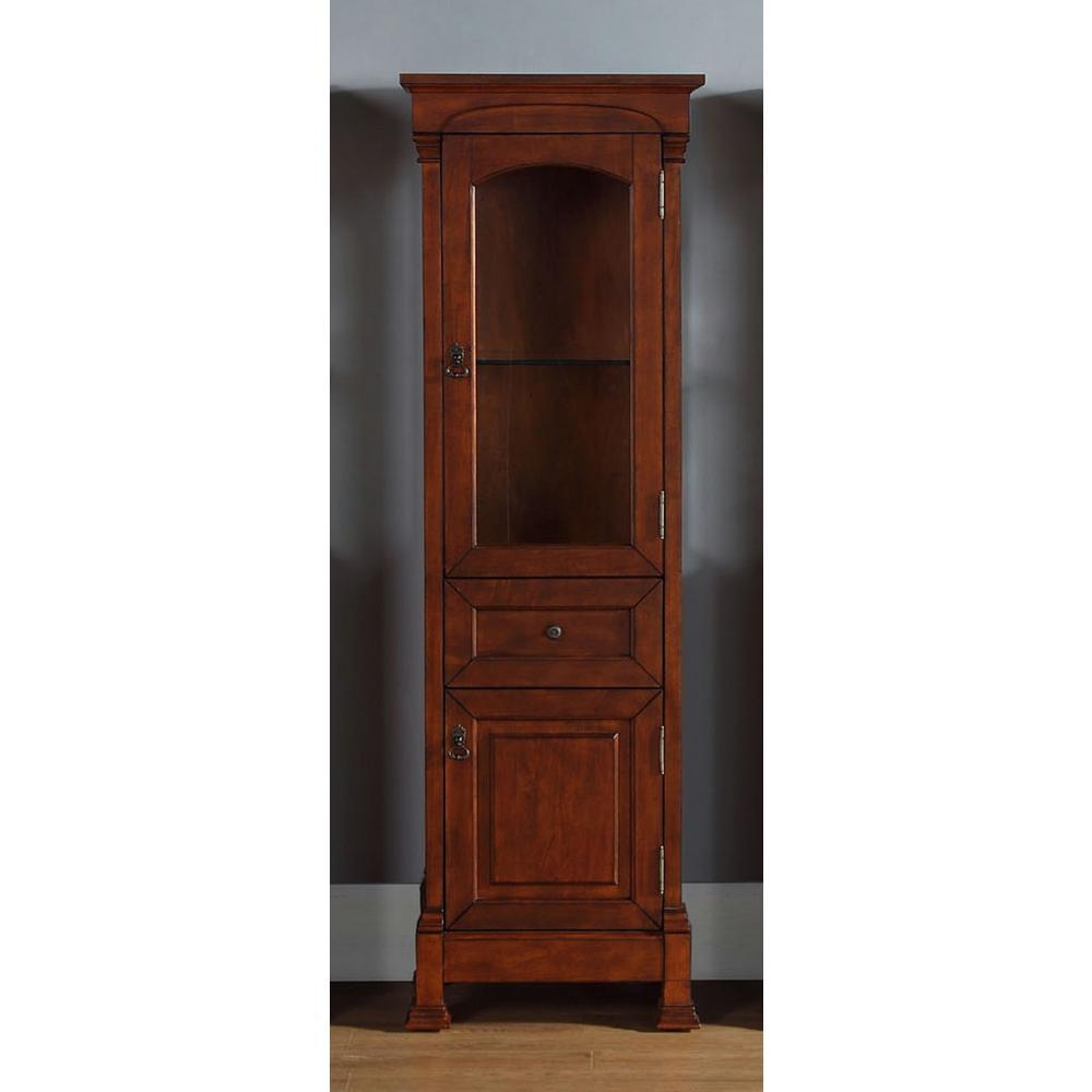 James Martin Vanities Brookfield 20.50 in. W x 16.25 in. D x 65 in. H Double Door Floor Cabinet in Warm Cherry