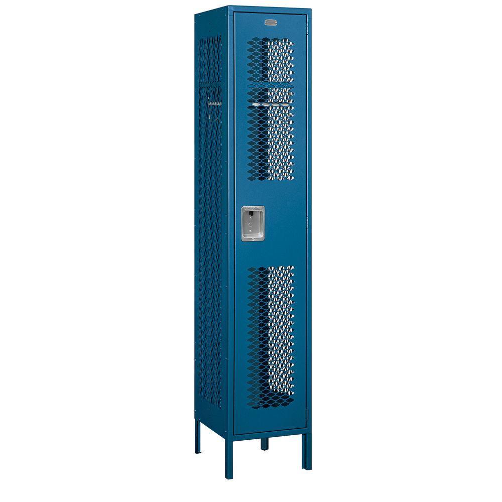 Salsbury Industries 81000 Series 15 in. W x 78 in. H x 18 in. D Single Tier Extra Wide Vented Metal Locker Assembled in Blue