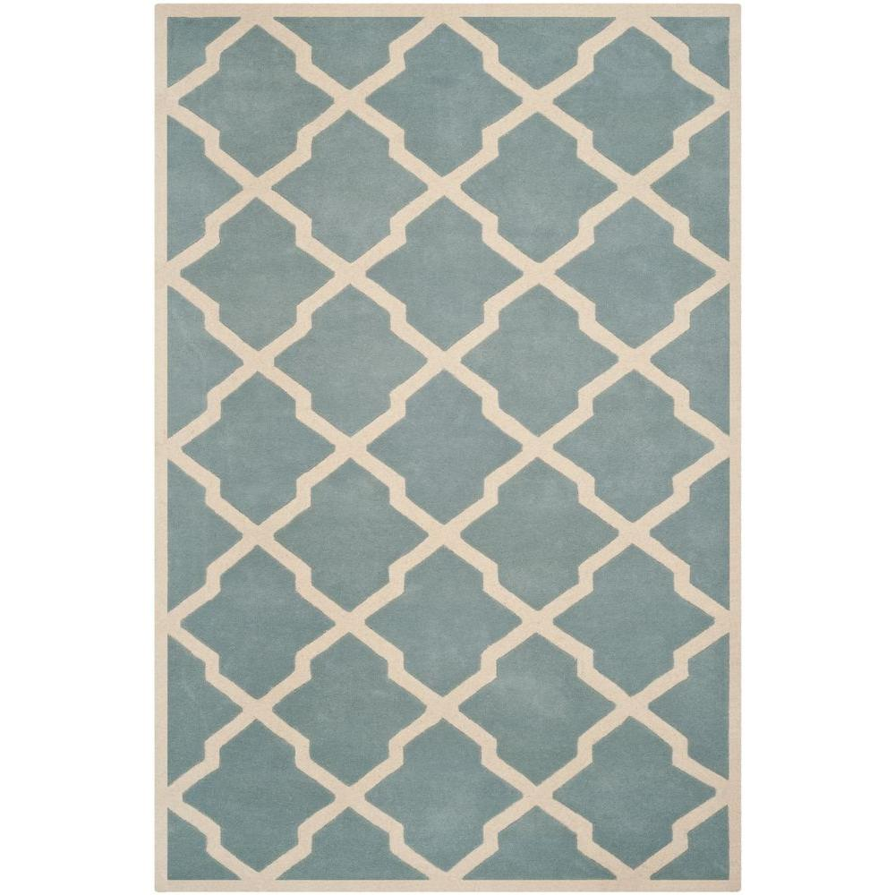 Safavieh Chatham Blue Ivory 10 Ft X 14 Ft Area Rug Cht735b 10