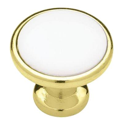 Classic 1-1/4 in. (32mm) Polished Brass with White Ceramic Insert Round Cabinet Knob