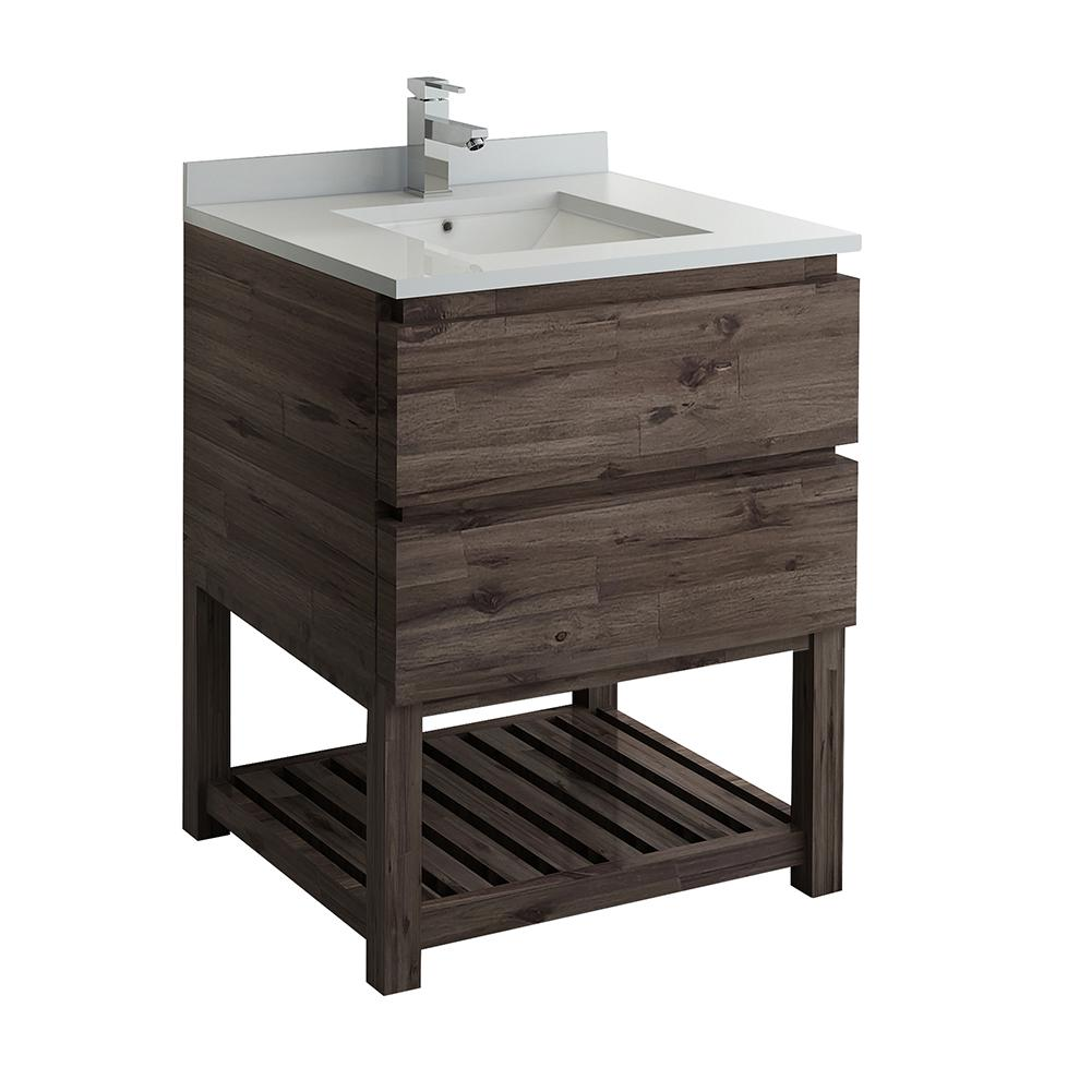 Fresca Formosa 30 in. Modern Vanity with Open Bottom in Warm Gray, Quartz Stone Vanity Top in White with White Basin