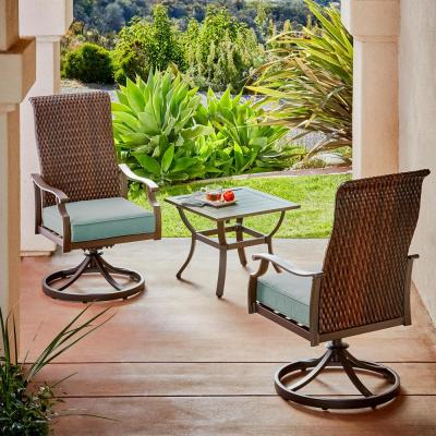 Rhone Valley 3-Piece Wicker Motion Outdoor Bistro Set with Teal Cushions
