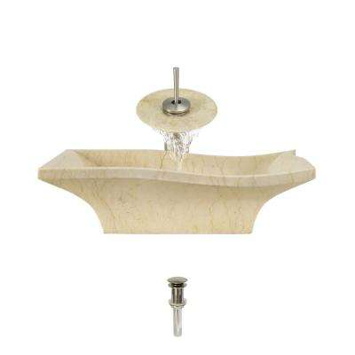 Stone Vessel Sink in Egyptian Yellow Marble with Waterfall Faucet and Pop-Up Drain in Brushed Nickel