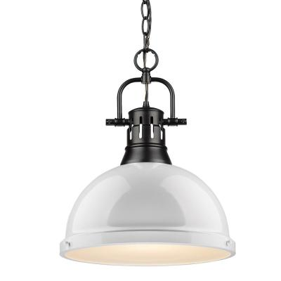 Duncan 1-Light Black Pendant and Chain with White Shade