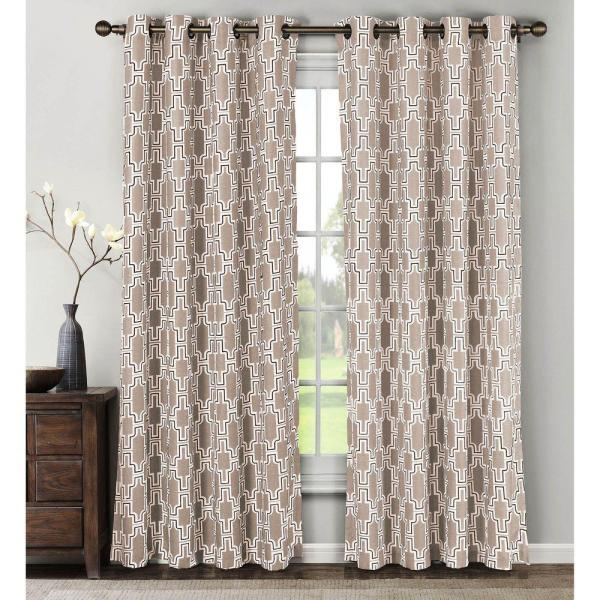 Semi-Opaque Wesley Linen Blend Extra Wide 84 in. L Grommet Curtain Panel Pair, Taupe (Set of 2)