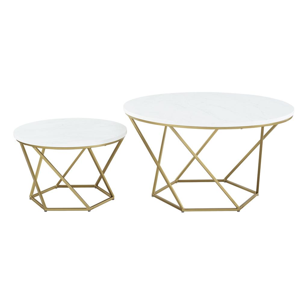 Walker Edison Furniture Company Modern Nesting Coffee Table Set White Marble Gold Hdf28clrgmg The Home Depot