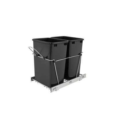 19.25 in. H x 14.38 in. W x 22 in. D Double 35 Qt. Pull-Out Black and Chrome Waste Container