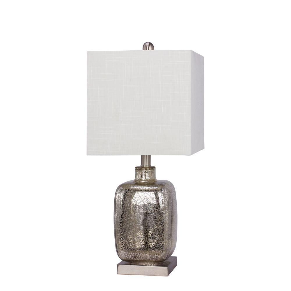 22 in. Brushed Steel Glass and Metal Table Lamp