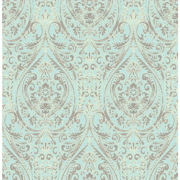 A Street Gypsy Turquoise Damask Wallpaper Sample 1014 001866sam