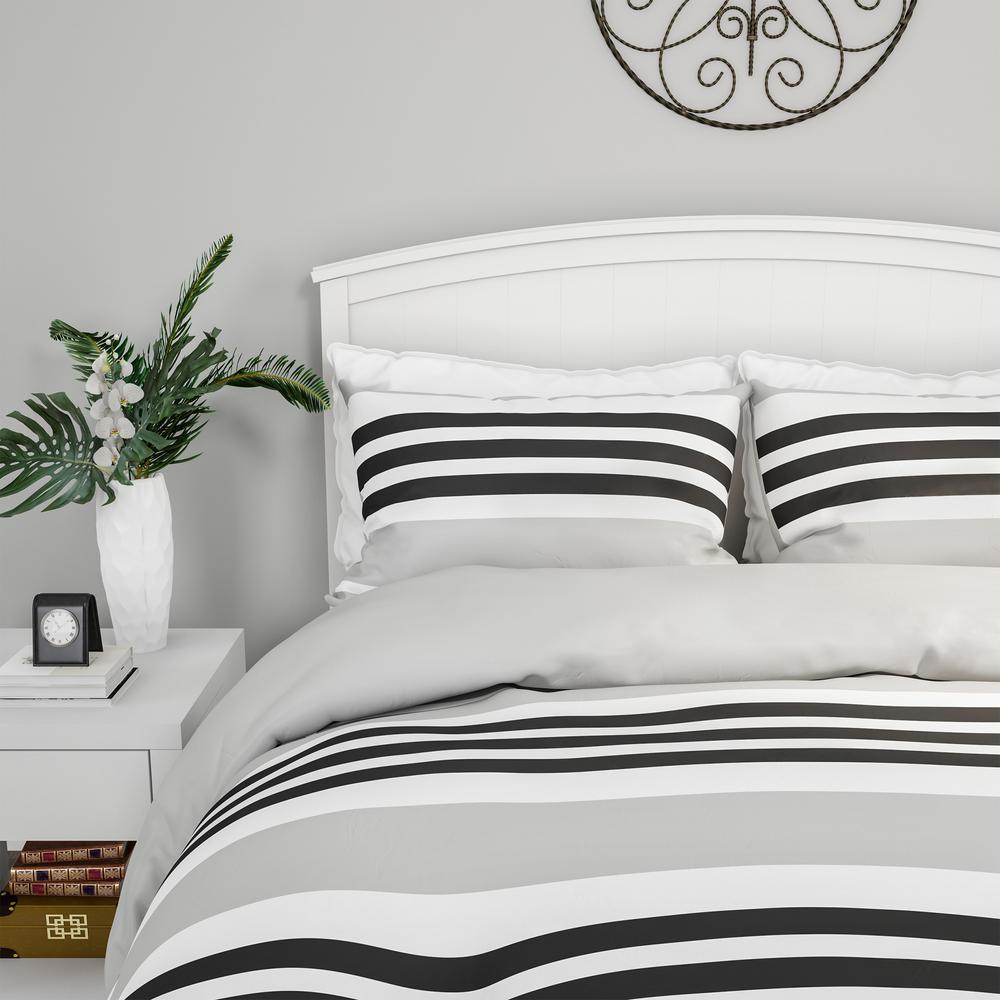 3-Piece Seaside Dawn Striped Full/Queen Hypoallergenic Down Alternative Comforter Set