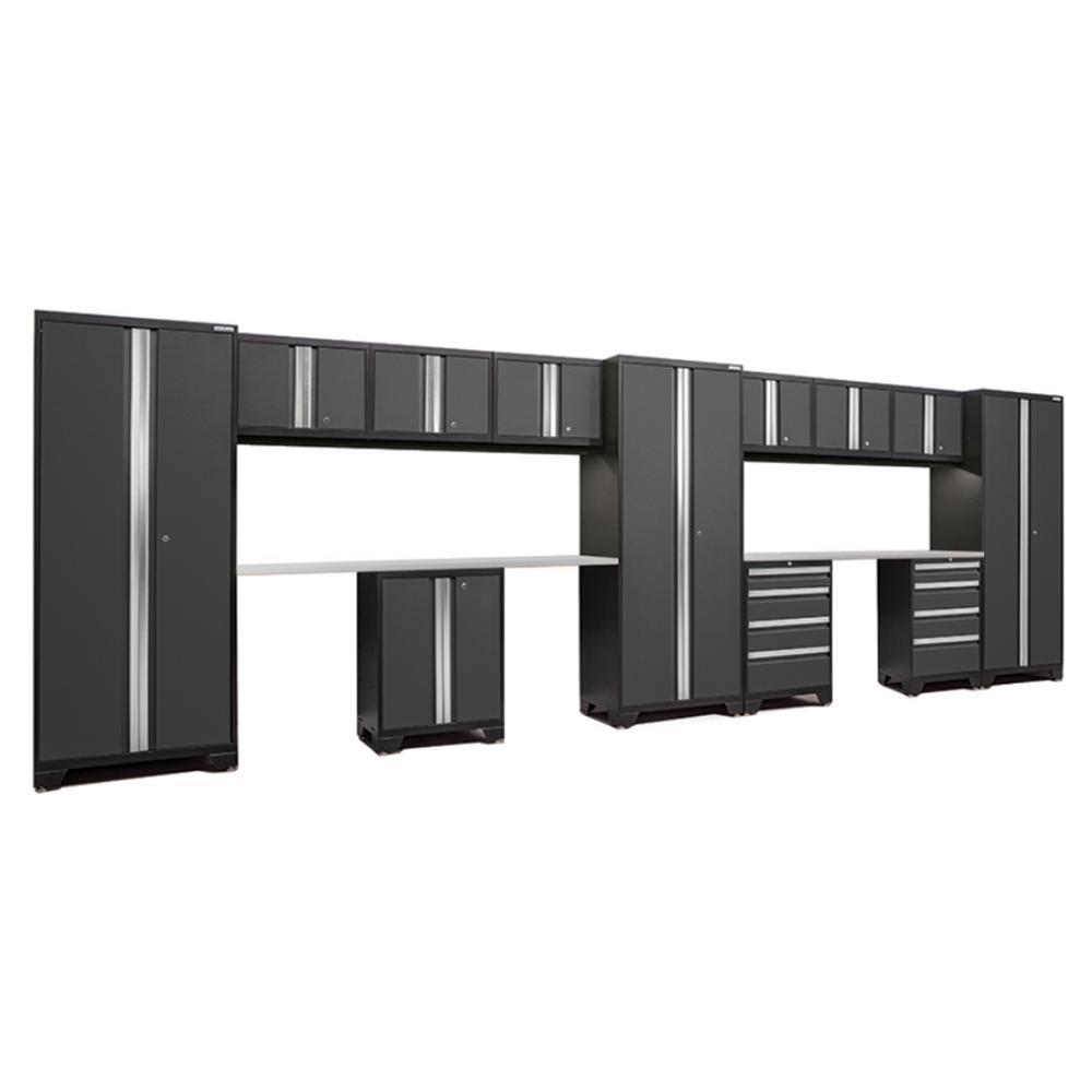 Bold 3.0 77.25 in. H x 234 in. W x 18 in. D 24-Gauge Welded Steel Stainless Steel Worktop Cabinet Set in Gray (14-Piece)
