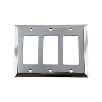 Deco Switch Plate with Triple Rocker in Bright Chrome